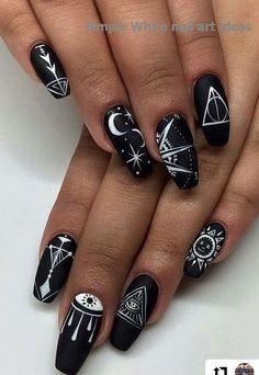 24 stunning glitter nail art designs you'll love to try White Nail Designs, Simple Nail Designs, Acrylic Nail Designs, Nail Art Designs, White Acrylic Nails, Glitter Nail Art, White Nails, Goth Nails, Halloween Nail Designs