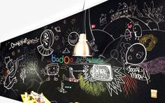 Clinet: Badoo London - office Graffiti mural - hand painted chalk board #graffiti #interiordesign #officegraffiti