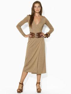 Long Silk-Cotton Wrap Dress - Blue Label Sale - RalphLauren.com