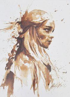 art, coffee, daenerys targaryen, emilia clarke, game of thrones, geek, got, khaleesi, mother of dragons, painting, maria aristidou