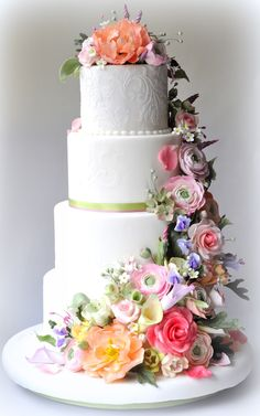 Classic White Wedding Cake with Pastel Flowers (Sorry, no instructions)