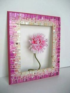 Pink Mosaic Frame/Mirror by RachaelCao on Etsy Cool idea for a frame. Also would be cute to have a picture from our foundation with several of our girls when supporting breast cancer awareness month.(Cool Pictures Of Girls)Radiating blended rows are Mirror Mosaic, Mosaic Art, Mosaic Glass, Mosaic Tiles, Glass Art, Mosaics, Stained Glass, Mosaic Madness, Mosaic Crafts