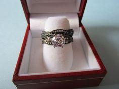 Women's Clear Black Twist Gothic Wedding Ring Set Round Cut CZ Sterling Silver 7 #GothicBlackWeddingRing