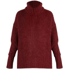 BY. Bonnie Young Roll-neck cashmere-blend sweater ($1,695) ❤ liked on Polyvore featuring tops, sweaters, chunky knit sweater, rollneck sweaters, roll-neck sweaters, burgundy sweaters and red sweater