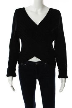Sarah-Pacini-Black-Wool-Thick-Ribbed-Knit-V-Neck-Sweater-Size-One-Size