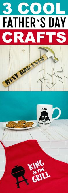 These 3 Cool Father's Day Crafts are also super easy to make. Two require simple vinyl while the apron is iron-on. You'll love seeing how to make these epic gifts! Vinyl Crafts, Vinyl Projects, Craft Projects, Paper Crafts, Diy Projects For Teens, Diy For Teens, Crafts For Teens, Kids Gifts, Craft Gifts