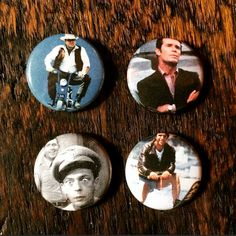 "Set of Four Classic TV 1"" Pinback Buttons - Hoss (Bonanza), Barney Fife (Andy Griffith), Jim Rockford (Rockford Files), Fonzie (Happy Days) by Superjunk5000 on Etsy"