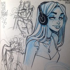 Instagram media by abelart - headphone girl and some scribbles for #nightmaresandvisions this was back on the plane to Brisbane last year!