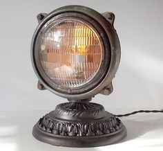 Vintage Upcycled Truck Headlight Accent Table Lamp Steampunk in Collectibles, Lamps, Lighting, Lamps: Electric Industrial Lighting, Vintage Lighting, Cool Lighting, Lighting Design, Vintage Lamps, Vintage Table, Lighting Ideas, Diy Luz, Lampe Steampunk