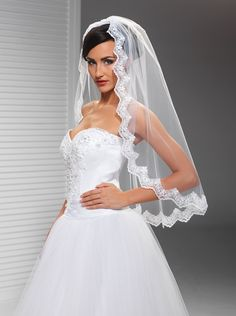 Závoje | krajkový svatební závoj 90 cm | Levné svatební šaty, svatební šaty levně - prodej