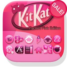 Pink KitKat Launcher Theme - A brand new Ultimate Launcher theme for Android launchers. Give your Android phone or tablet the latest KitKat OS look in perfect PINK, with completely custom-designed icons, wallpaper, dock bars, folder enhancements, launcher elements, and more, inspired by Android KitKat 4.4+ OS and the latest Nexus devices!