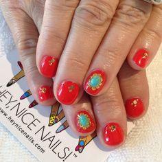 Orange #gel mani with gold and turquoise stones #nailart