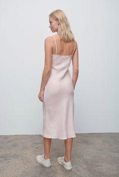 Linen Bias Slip Dress - Light Pink – VENROY Warm Weather, Spring Summer Fashion, Hemline, Dressing, Model, Pink, How To Wear, Stuff To Buy, Style