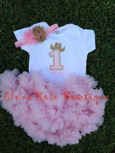 Pink and tan cowgirl birthday tutu - birthday petti skirt - cowgirl western birthday set - 1st 2nd birthday outfit