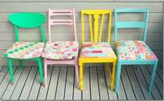 Chairs - re-painted and patchwork seat covers