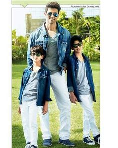 Hrithik Roshan with his sons during the Hello magazine photoshoot. Sexy?