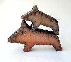 Deko-Objekte - Raku-Braunwildschwein.DINGS groß - ein Designerstück von D_Klietsch bei DaWanda