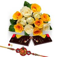 Rakhi Roses with Dark Chocolate to Delhi