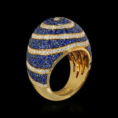 Mousson atelier, collection Caramel - Spiral, ring, Yellow gold 750, Sapphires, Diamonds