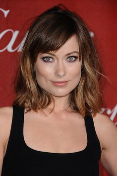 Olivia Wilde's brunette side fringe and ombré