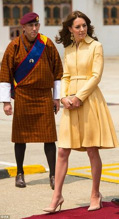 Catherine, The Duchess of Cambridge in a custom Emila Wickstead coat dress in Bhutan on April 14, 2016