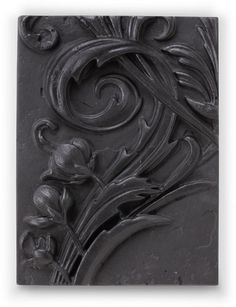 """The Midnight Collection has a dark, gothic feel, a theme that has interested Sid through the years. This tile above is titled """"Royal Fern""""."""