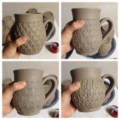 Ceramic Wheel Thrown and Stamped Mugs (and ceramic tools)