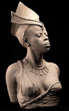 Life-size portrait sculptures by Philippe Faraut, portrait sculptor Portrait Sculpture, Art Sculpture, Stone Sculptures, African American Art, African Art, Art Pierre, Zbrush, Black Is Beautiful, Black Art