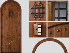 round top entrance doors- stained in a golden oak color- bought at www.nicksbuilding.com