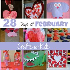 Mamas Like Me: 28 Days of February Crafts for Kids.  Also includes some March ideas as well. Separate links to each crafting project.
