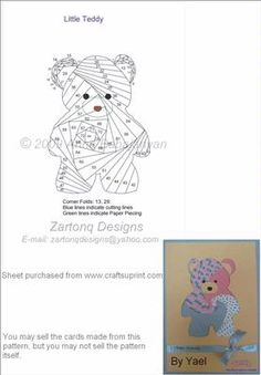 Little Teddy on Craftsuprint designed by Anna Babajanyan - A very cute and easy pattern for children cards as well as Christmas cards! - Now available for download!