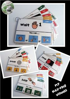 This keyring visual aid system may help you in a crisis while teaching in a self contained or Autism classroom. check it out. Visual Cue, Visual Aids, Autism Classroom, Classroom Activities, Classroom Behaviour, Classroom Ideas, Preschool Behavior, Counseling Activities, Montessori Activities
