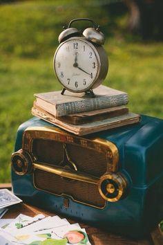 Vintage clock, books, radio