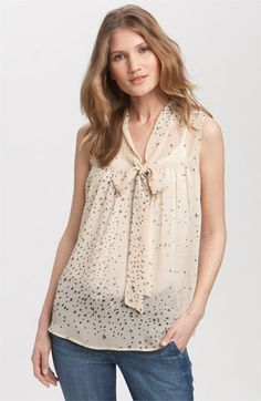 Great for work with a blazer to happy hour in the Bobeau Sleeveless Tie Front Print Blouse