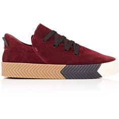 ALEXANDER WANG x adidas Originals Women's Skate Sneakers (1,240 CNY) ❤ liked on Polyvore featuring shoes, sneakers, burgundy, urban shoes, urban sneakers, burgundy sneakers, cutout sneakers and foldable shoes