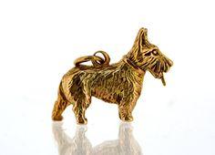 Vintage Gold Charm- 9ct Gold Scottish Terrier Dog Charm - Vintage 9ct Gold Charm..