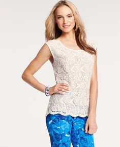 Ann Taylor - AT Blouses Tops - Floral Lace Front Tee