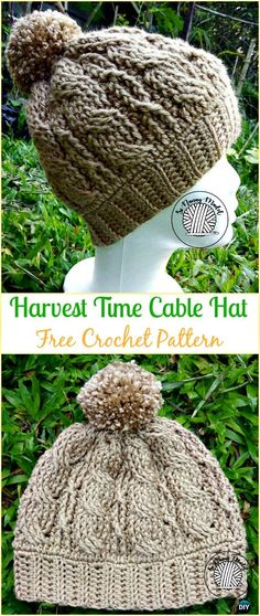 Crochet Harvest Time Cable Hat Free Pattern - Crochet Cable Hat Free Patterns