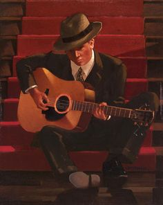 Jack Vettriano OBE Guitar player 38 x x Jack Vettriano, Edward Hopper, The Singing Butler, Michael Carter, Impressionist Paintings, Illustration, Love Art, Caricature, Art And Architecture