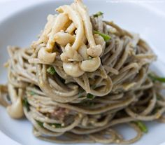 Chilled Wasabi Peanut Citrus Soba Noodles, with Mushrooms