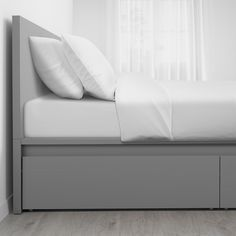 IKEA - MALM, High bed storage boxes, gray stained, The 4 large drawers on casters give you an extra storage space under the bed. Adjustable bed sides allow you to use mattresses of different thicknesses. Slatted bed base and mattress sold separately.