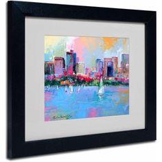 Trademark Fine Art Boston 3 inch by Richard Wallich, Black Frame, Size: 16 x 20, Multicolor