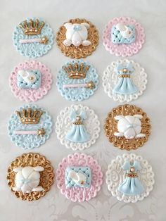Ideas For Cupcakes Baby Shower Fondant Etsy Cinderella Cupcakes, Princess Cupcake Toppers, Fondant Cupcake Toppers, Princess Cupcakes, Cinderella Birthday, Cupcake Cakes, Rose Cupcake, Cup Cakes, Baby Shower Cupcake Cake