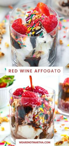 Just add red wine to vanilla ice cream, add on some toppings, and your new favorite boozy dessert is born! This red wine affogato is always a party hit! | wearenotmartha.com #affogatos #winedesserts #icecreamdesserts #boozydesserts Chocolate Fudge Sauce, Best Chocolate Desserts, Ice Cream Desserts, Chocolate Ice Cream, Frozen Desserts, Chocolate Cookies, Wine Ice Cream, Cherry Ice Cream, Best Cocktail Recipes