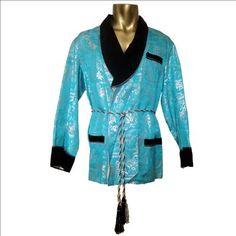 Vintage 50s 60s Turquoise & Silver Oriental Print Smoking Jacket Robe 42-44 L