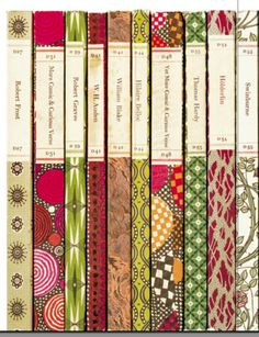 Book spine design -- love the various patterned paper.