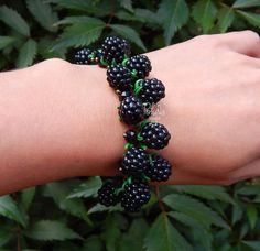 Blackberry  charm  bracelet  Fruit jewelry   Miniature Food