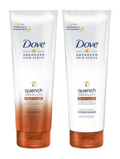SHAMPOO AND CONDITIONER Dove Quench Absolute Shampoo and Conditioner polish roots, soften ends, and encourage plenty of bounce in between.
