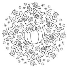 Kürbis und Herbstblumen Halloween Mandala zum Drucken in PDF und JPG G . - Mandalas de Día de Muertos y Halloween - Mandala Coloring Pages, Colouring Pages, Coloring Books, Autumn Crafts, Autumn Art, Halloween Mandala, Mandalas For Kids, Halloween Coloring Sheets, Thanksgiving Coloring Pages