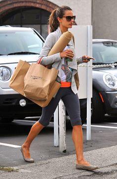 Alessandra Ambrosio is headed to yoga class! Love her yoga look.